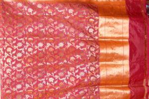 Banarasi Silk with Katarawah Jaal with Zari Pallu & border saree