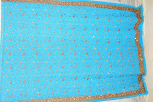 Pure georgette machine embroidered sari with additional hand embroidery of sequins and stones
