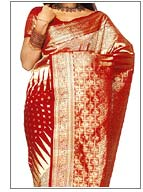 Red Tanchoi Banarasi Saree