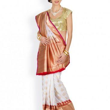 White Silk Georgette Benarasi Sari