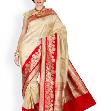 Creme Silk Handloom Banarasi Sari