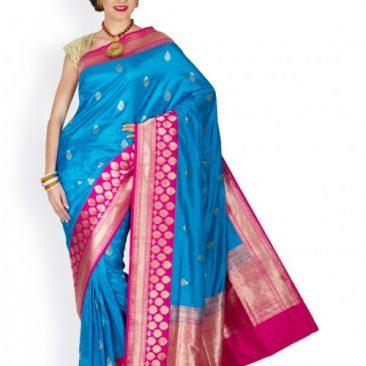 Blue Benarasi Silk Handloom Sari
