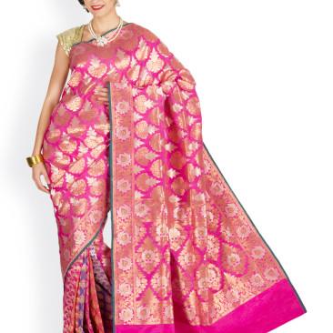 Indian Pink Pure Silk Handloom Banarasi Sari