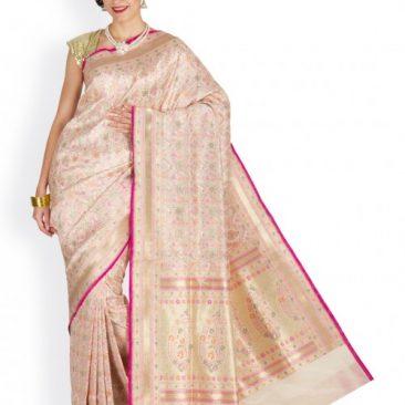 Silk Georgette Handloom Creme Banarasi Sari