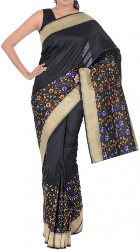 Beautiful black katan silk sari