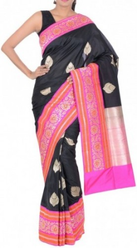 Black & Rani Kadiyal Saree with Skirt Border