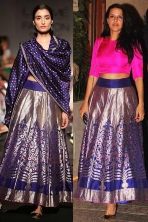 Neha Dhupia wears a Banarasi lehenga - straight off the runway.