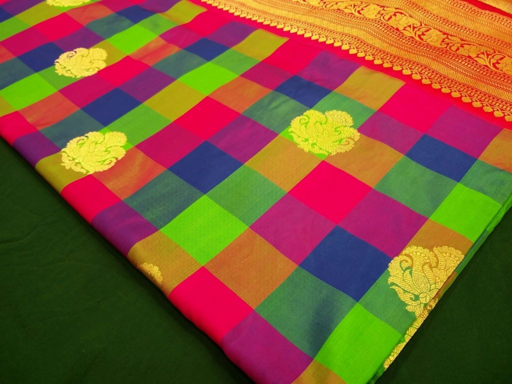 Gorgeous multi-colour Banarasi check sari.