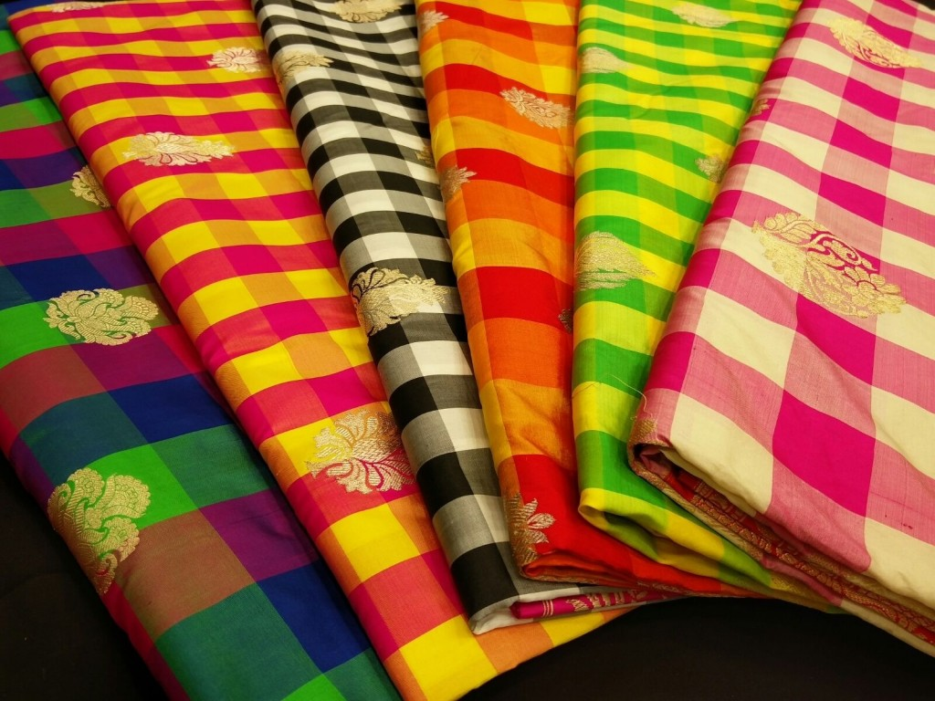 Our beautiful collection of check Banarasi saris.
