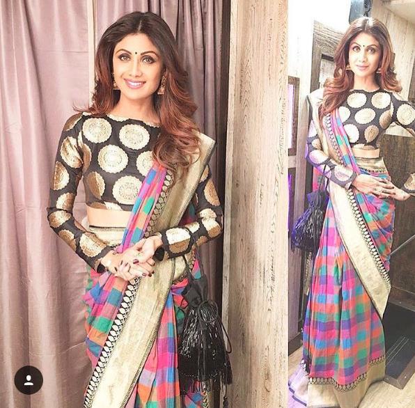 Shilpa Shetty Check Banarasi Sari