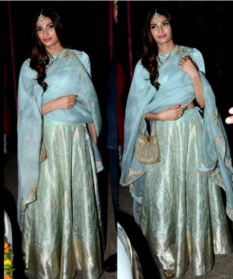 Athiya Shetty in a Pastel Blue Banarasi Silk Lehenga by Raw Mango